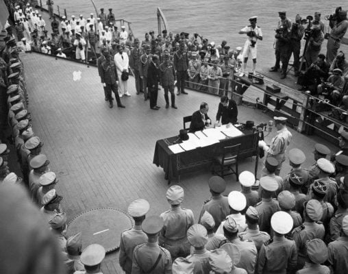 Surrender of the Japanese on the USS